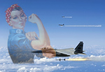 Rosie The Riveter and F-15 Eagles Firing AIM-7 Sparrow Missiles