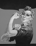 Rosie the Riveter Without Text, in Black and White