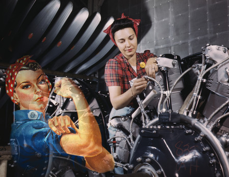 Free Photo: Rosie the Riveter and Real Riveter Building Engine