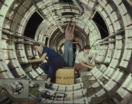 Free Photo: Three Women Riveters Working Inside a Circular Structure of the Fuselage