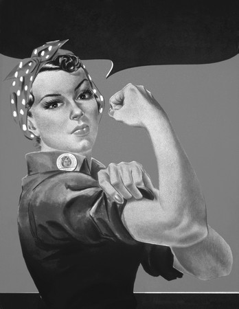 Free Photo: Rosie the Riveter in Black and White, No Text