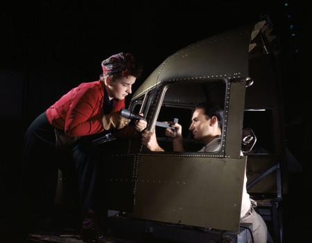 Free Photo: Riveters Assembling an Airplane